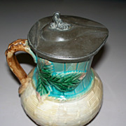 Antique English  Majolica  Pitcher  Pewter Lid.