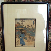 Antique Japanese Wood-Block Print Hiroshige  Censor Seal Mark of 1790-1842