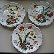 3 Antique  Nove Italy  Tin-Glazed  Faience Pottery  Plates