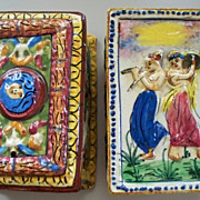 Two Vintage Capodimonte Dresser Boxes