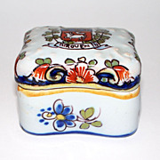 Antique  French Faience &quot;Rouen&quot; Geo Martel Trinket Box