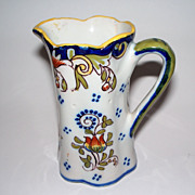 Antique French Faience   &quot;Dinan&quot;   Fluted Pitcher
