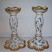 "Antique Limoges French  Porcelain Rococo Style Candlesticks  Roses & Pansies 9"" high"