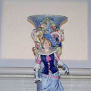 French Barbotine Figural Vase   22&quot; High