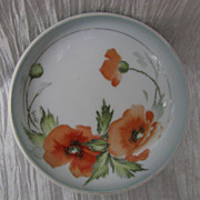 REDUCED Royal Bavaria Orange Poppy 3 Footed Dish