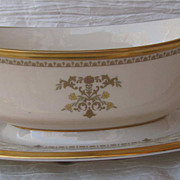 Lenox Castle Garden Gravy Boat and Attached Under-plate