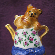 REDUCED Limoges Box Bear in Teapot Chamart Peint Main Exclusive