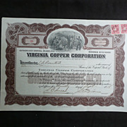 Vintage Stock Certificate Virginia Copper Corporation 1918