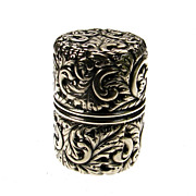 SALE Sterling Silver Sewing Thread Spool Holder -- Repousse Pattern