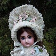 "SOLD Marvelous 22"" Antique French bisque bebe JUMEAU doll C.M. in Couturier Costume"