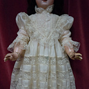 SOLD Exquisite Antique pure silk Dress for french Bebe Jumeau Steiner bisque doll