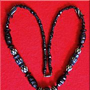 Fabulous CARVED CELLULOID & Glass Black ART DECO Vintage Estate Necklace