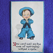 Antique SAILOR BOY Vintage Sea of MATRIMONY Old Estate Postcard