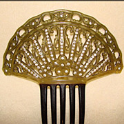 Fabulous Large Antique Celluloid & Rhinestone Hair Comb