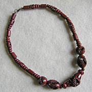 Gorgeous ART DECO Carved Celluloid Beads Reddish Brown Vintage Estate Necklace