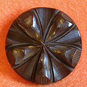 Fabulous CARVED BAKELITE Chocolate Brown Large Vintage Old Estate BUTTON