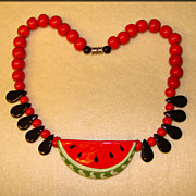 Fabulous FLYING COLORS Fun Vintage WATERMELON Design Necklace