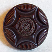 Gorgeous CARVED BAKELITE Chocolate Vintage Estate HUGE Button