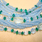 Fabulous Vintage Multi Strand Blue Glass & Green Crystal Necklace SET