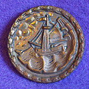 Antique PICTURE BUTTON - Ship on Stormy Sea