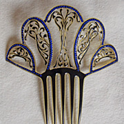 Fabulous ART DECO Huge Celluloid & Rhinestone Vintage Estate Hair Comb