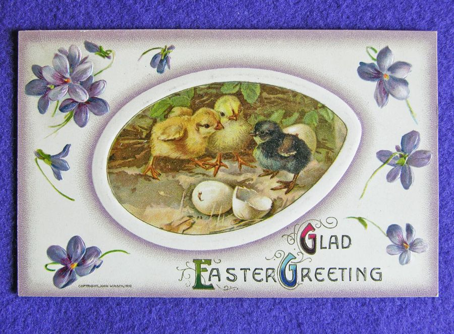 Signed JOHN WINSCH Easter Chicks Antique Victorian Estate Postcard