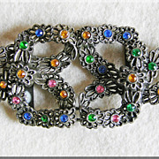 Fabulous ART DECO Filigree Color Rhinestone Old Estate Buckle