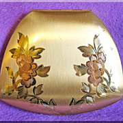 Gorgeous ELGIN AMERICAN Signed Unusual Shape Vintage Floral Compact