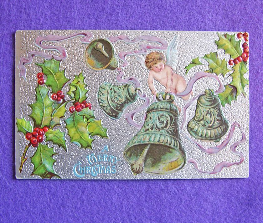 Antique CHRISTMAS Cherub Angel Holly & Bells Victorian Estate Postcard