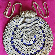 Fabulous CROCHETED Handmade Old Estate Vintage Drawstring Purse