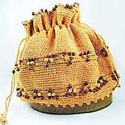 Earth Tone Crochet Purse With A Fun-N- Funky Glitter Lucite Bottom