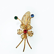 Circa 1940 Brass Rhinestone Brooch