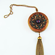 Brass Filigree Wrist Compact  With Ball Chain Fringe
