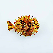 Napier Spiney Blow Fish Figural Brooch