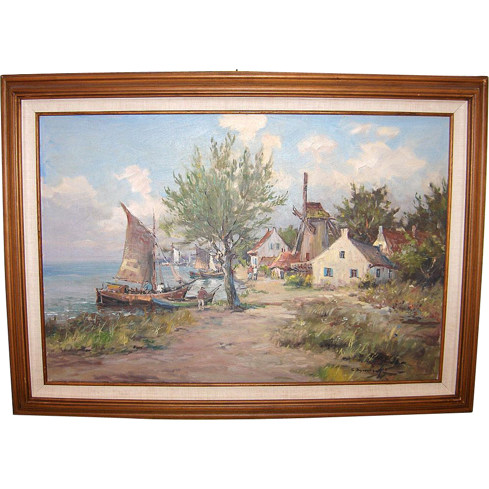 Coastal Village and View by Eugeniusz Dzierzencki  Listed Artist