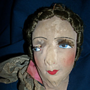 Vintage Silk Face Head For Boudoir Doll Needs Restoration Free Postage & Insurance