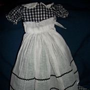 Fantastic Black & White Check Long Cotton Dress organdy Apron Free P&I US Buyers