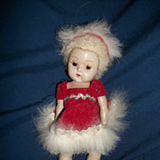 "8""  Tiny Miss Ginny doll Caracul Wig Skating Outfit   Free P&I US Buyers"
