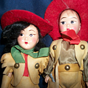 Adorable 50's pair Cowboy &Girl Buckskin dolls Free P&I US Buyers