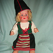 "Vintage 19"" thin plastic colorful Italian type Doll Free P&I US Buyers"