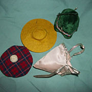 "4 Vintage Doll Hats for 8"" Alexander Vogue dolls Free P&I US Buyers"