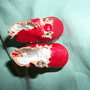 Vintage Red Leatherette Roller Skates Vogue Effanbee Alexander Dolls Free P&I US Buyers