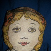 "24"" Litho Printed Cloth doll Bow 1800's 1900's free P&I US Buyers"