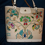 Collins Texas Jeweled Crewel Bag Purse Free P&I US Buyers