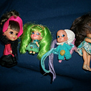 4 Rare Liddle Kiddles Kiddle Baby Frosty Mint Cone,Telly Viddle,Henrietta Carriage