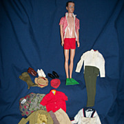 Vintage Molded Hair Ken Doll with lots of outfits free P&I US Buyers