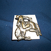 Rare Occupied Japan Cowboy and Horse Metal Pin Free P&I