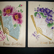 2 Embossed German Flower Fan Postcards Free P&I