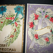 2 1900's  Embossed Christmas postcards Free P&I