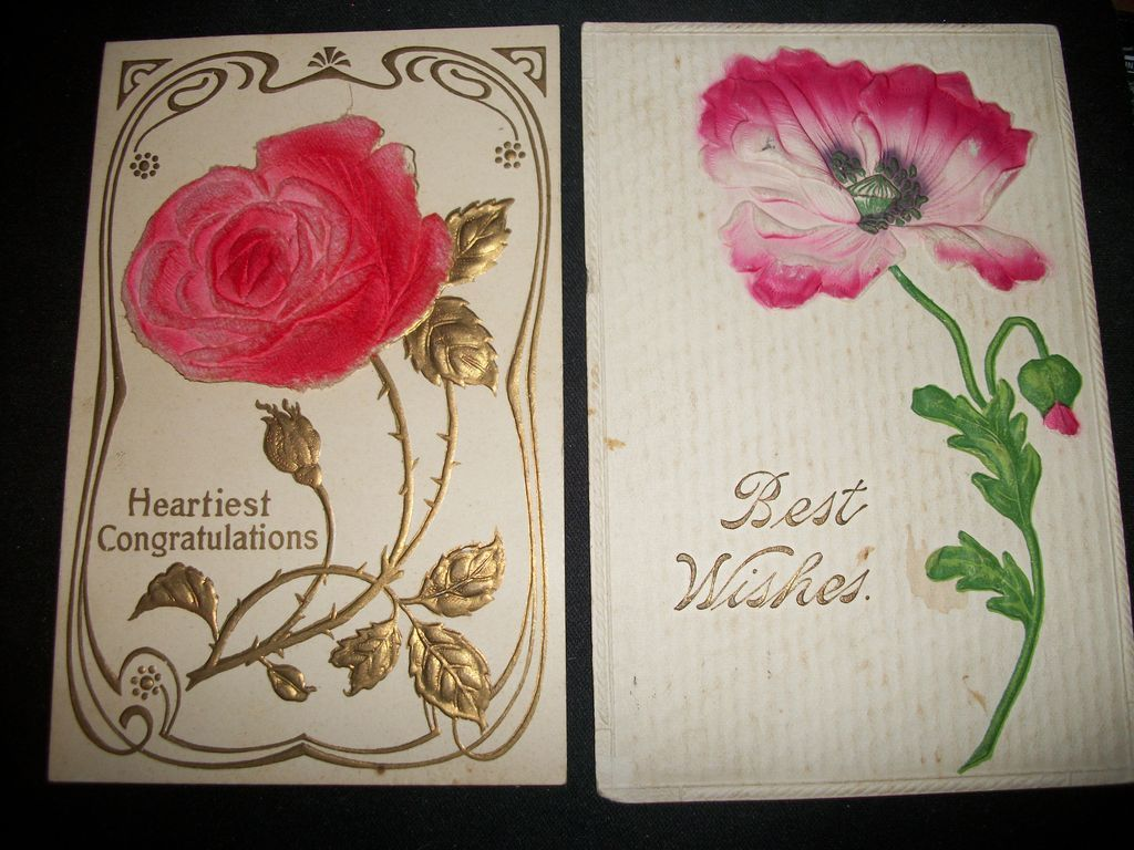 2 Embossed Flower Postcards printed in Germany Free P&I